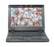 Computer portatile con soldi russi - rubli Fotografia Stock Libera da Diritti