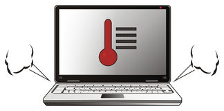 Computer portatile con vapore Fotografia Stock