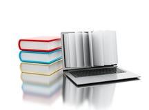 computer portatile 3d con le pagine del libro Fotografia Stock Libera da Diritti