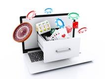 computer portatile 3d con lo slot machine, le roulette, i chip, le carte della mazza ed i Di illustrazione vettoriale