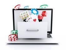 computer portatile 3d con lo slot machine, le roulette, i chip, le carte della mazza ed i Di illustrazione di stock