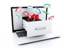 computer portatile 3d con lo slot machine, le roulette, i chip ed i dadi illustrazione vettoriale