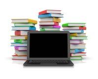 Computer portatile davanti ai mucchi dei libri illustrazione vettoriale