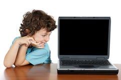 Computer portatile del briciolo del bambino Fotografie Stock
