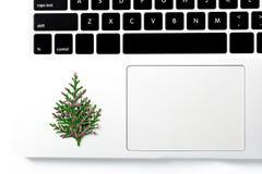 Computer portatile del computer e regalo di natale pino con la decorazione del nuovo anno Fotografia Stock Libera da Diritti