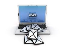 Computer portatile del email Fotografie Stock Libere da Diritti
