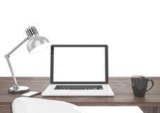 computer portatile dell'illustrazione 3D sulla tavola, area di lavoro Immagine Stock