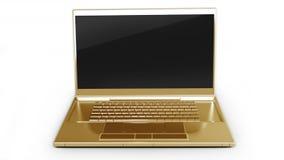 Computer portatile dell'oro isolato su bianco Fotografia Stock