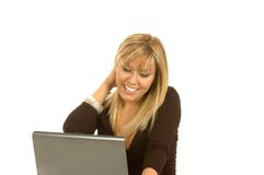 Computer portatile della giovane donna Immagine Stock Libera da Diritti