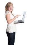 Computer portatile della holding della donna immagini stock