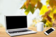 Computer portatile di autunno Fotografie Stock