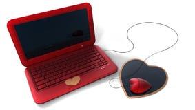 Computer portatile di colore rosso di stile del cuore Fotografie Stock