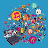 Computer portatile di divertimento Immagine Stock