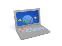 Computer portatile di investimento con le chiavi di tastiera speciali Fotografia Stock Libera da Diritti