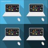 Computer portatile di vettore per l'affare Immagini Stock