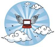 Computer portatile di volo con le ali Fotografia Stock Libera da Diritti