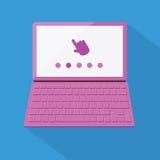 Computer portatile disegnato piano Fotografia Stock