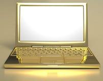 Computer portatile dorato Fotografia Stock
