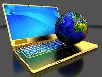 Computer portatile dorato con il globo Immagine Stock