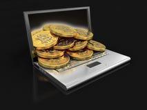 Computer portatile e bitcoins Fotografia Stock