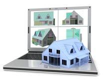 Computer portatile e casa Fotografie Stock Libere da Diritti