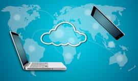 Computer portatile e compressa del computer con il concetto della rete della nuvola Fotografia Stock