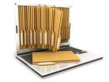 Computer portatile e dispositivo di piegatura Fotografia Stock