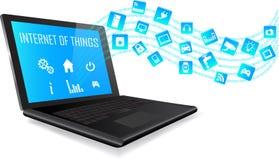 Computer portatile e Internet del concetto di cose Fotografia Stock Libera da Diritti