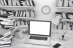 computer portatile e libri dell'illustrazione 3D, nell'area di lavoro Immagini Stock Libere da Diritti