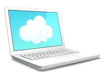 Computer portatile e nube Fotografia Stock Libera da Diritti