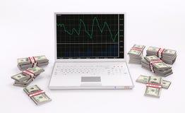Computer portatile e pile bianchi di dollari 3d Fotografie Stock