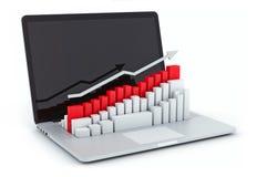 Computer portatile e programma Immagini Stock