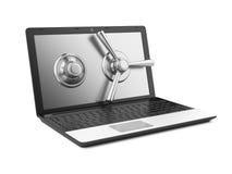 Computer portatile e serratura a combinazione Immagini Stock Libere da Diritti