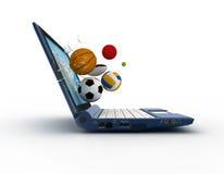 Computer portatile e sfere Immagine Stock