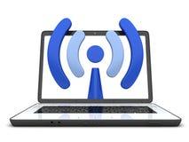 Computer portatile e simbolo Wi-Fi Fotografia Stock