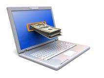 Computer portatile e soldi Immagine Stock Libera da Diritti