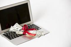 Computer portatile e soldi Fotografie Stock Libere da Diritti