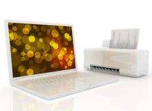 Computer portatile e stampante Fotografia Stock Libera da Diritti