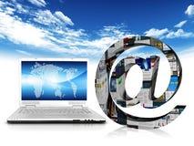 Computer portatile e Web Immagini Stock