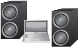 Computer portatile ed altoparlanti Fotografia Stock