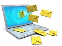 Computer portatile ed email Fotografia Stock Libera da Diritti