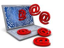 Computer portatile ed email Fotografie Stock
