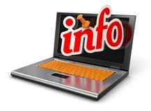 Computer portatile ed informazioni (percorso di ritaglio incluso) Fotografia Stock