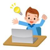 Computer portatile ed uomo fatto galleggiare delle idee Immagini Stock