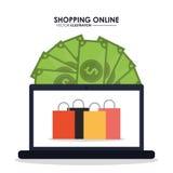 Computer portatile, fatture ed icona del sacchetto della spesa Progettazione online di compera Vec Fotografia Stock Libera da Diritti