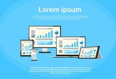 Computer portatile finanziario della pagina del grafico di progettazione rispondente Fotografia Stock