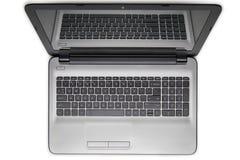 Computer portatile isolato su priorità bassa bianca Wiew superiore fotografie stock libere da diritti