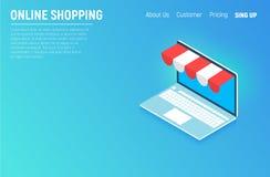 Computer portatile isometrico di concetto di acquisto online Elementi grafici di progettazione piana, segni, simboli, linea icone Immagine Stock Libera da Diritti