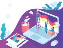 computer portatile libero d'atterraggio isometrico della luce della pittura del progettista della pagina royalty illustrazione gratis