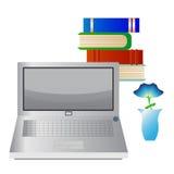 Computer portatile, libri e vaso Immagini Stock